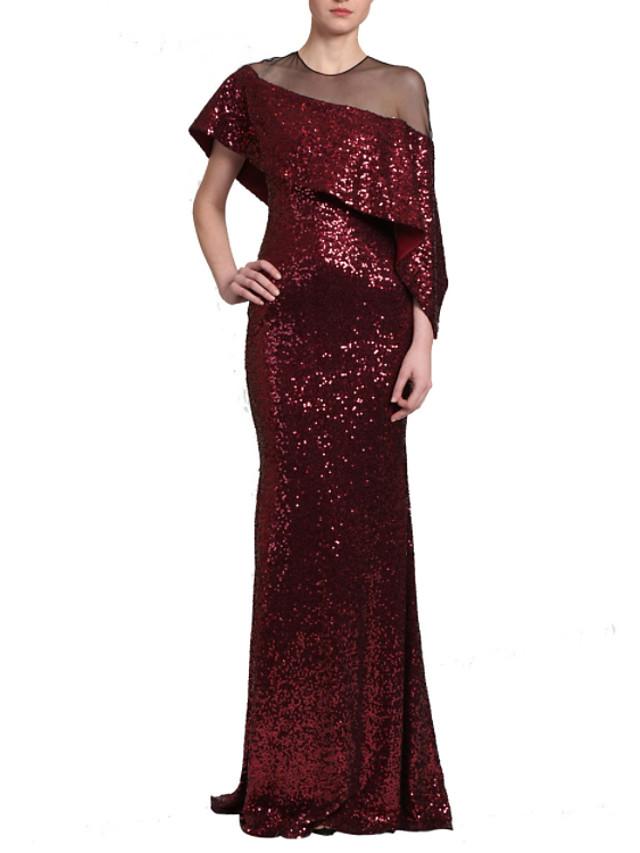 Sheath / Column Glittering Minimalist Wedding Guest Formal Evening Dress Illusion Neck Short Sleeve Sweep / Brush Train Sequined with Sequin Ruffles 2020