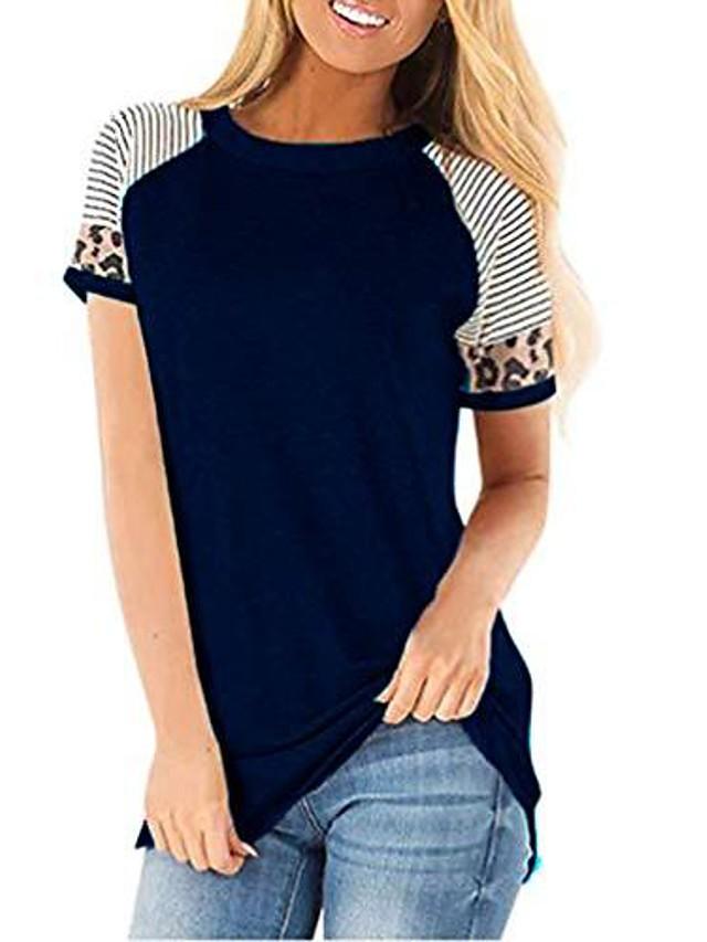 womens casual t-shirts short sleeve leopard color block patchwork t shirt boutique striped cute comfy tops blouse black