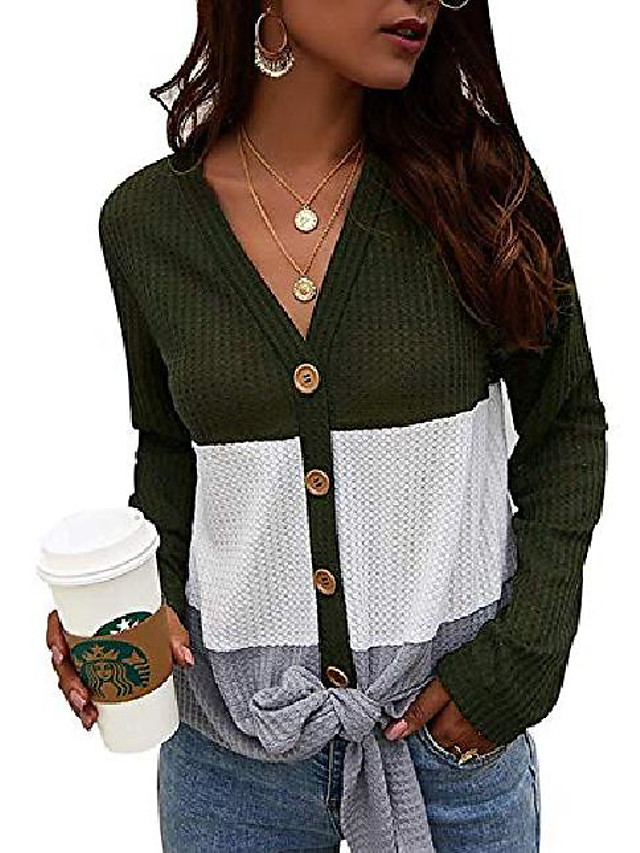 womens waffle knit tie knot shirts long sleeve v neck loose color block tops blouse(army green,xl)