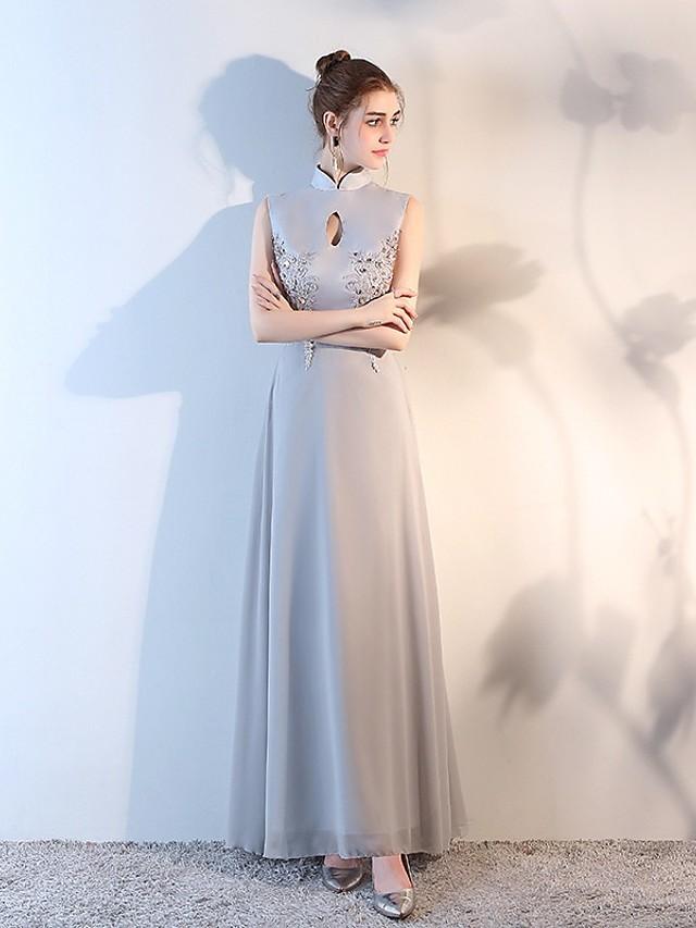 Sheath / Column Beautiful Back Sexy Wedding Guest Formal Evening Dress High Neck Sleeveless Floor Length Chiffon with Appliques 2020