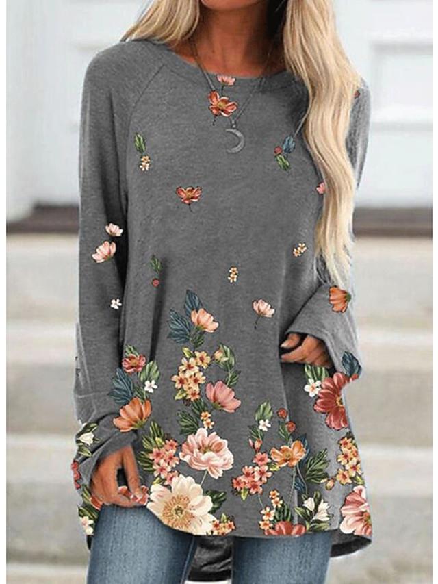 Women's T Shirt Dress Tee Dress Short Mini Dress Blue Khaki Gray Long Sleeve Floral Patchwork Print Fall Spring Round Neck Casual 2021 S M L XL XXL 3XL 4XL 5XL / Plus Size