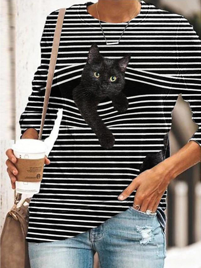 Womens Casual V-neck Cartoon Cat Striped Loose Soft Long Sleeve Pullover Tunic Tops Sweatshirt T Shirt