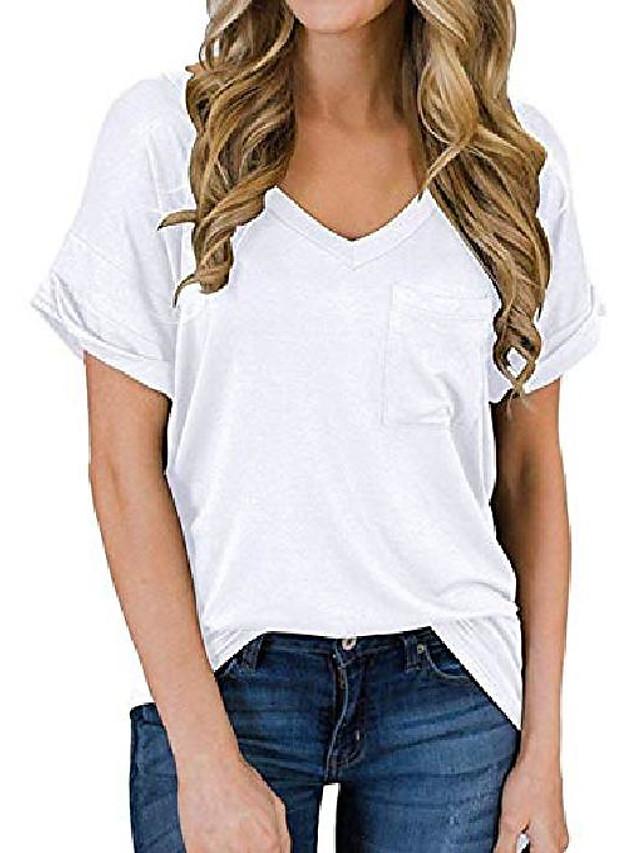women's casual short sleeve v-neck shirts plain summer tops with pocket