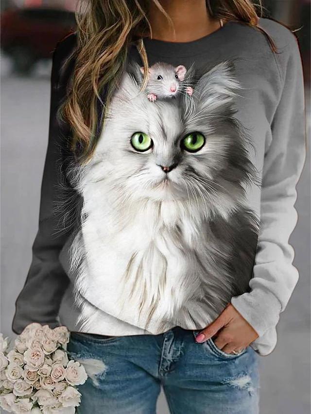 Women's Pullover Sweatshirt Graphic Animal Daily Basic Casual Hoodies Sweatshirts  Gray