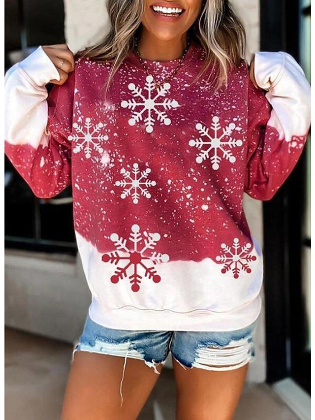 نسائي هوديي كنزة الرسم ندفة ثلجية عيد الميلاد مناسب للبس اليومي كاجوال عيد الميلاد هوديس بلوزات رمادي أحمر