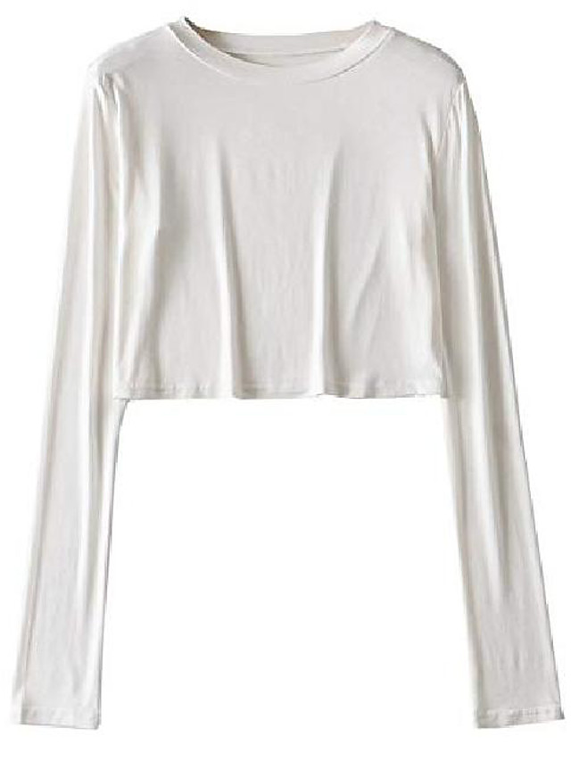 women's solid long sleeve crop tee tops round neck basic casual loose crop tshirts white