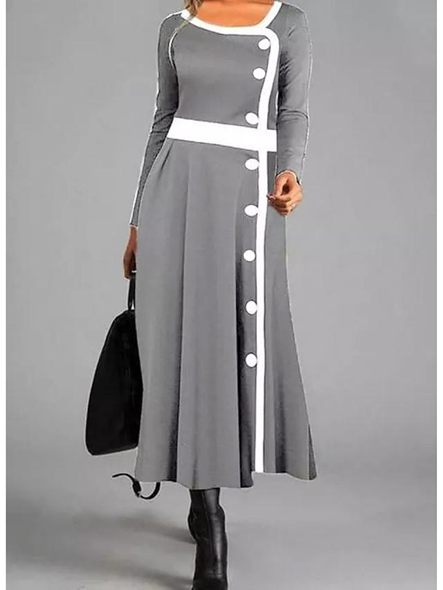 Women's Fall Winter Round Neck Vintage Maxi Long Sleeve Shift Dress (L/XL) (Gray)