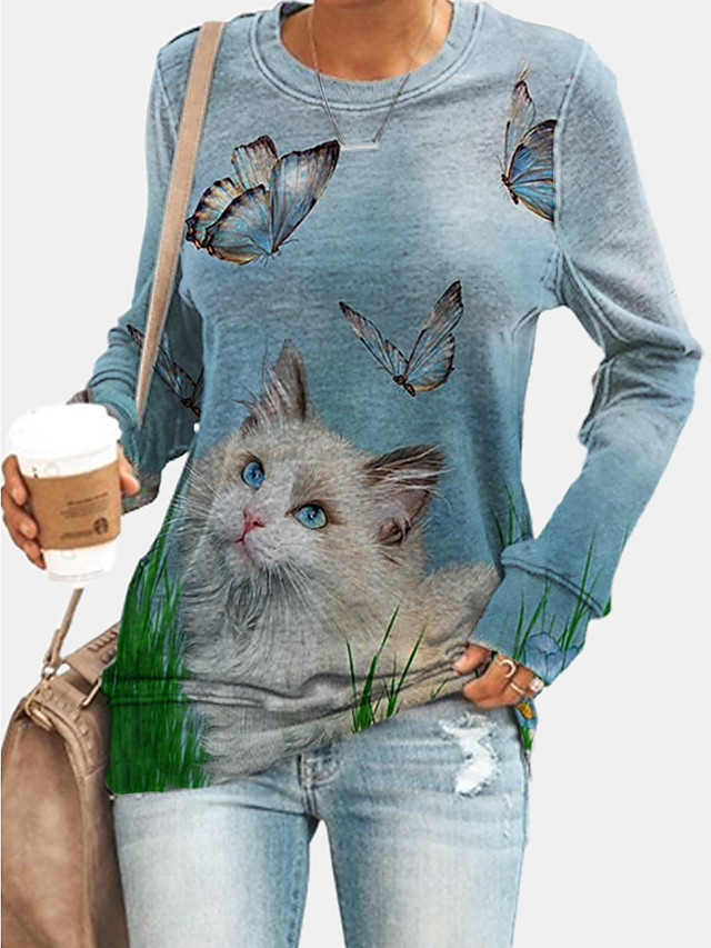 Women's Hoodie Sweatshirt Graphic Animal Daily Basic Casual Hoodies Sweatshirts  Blue Purple Green