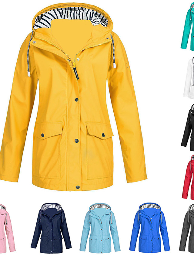 Women's Hoodie Jacket Rain Jacket Outdoor Waterproof Windproof Solid Rain Lightweight Plus Size Breathable Quick Dry Coat Top  Camping / Hiking Hunting Fishing Light Blue Pink ArmyGreen White Black