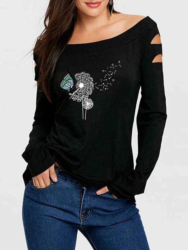 Women's T-shirt Graphic Prints Dandelion Long Sleeve Print Off Shoulder Tops Basic Basic Top Black