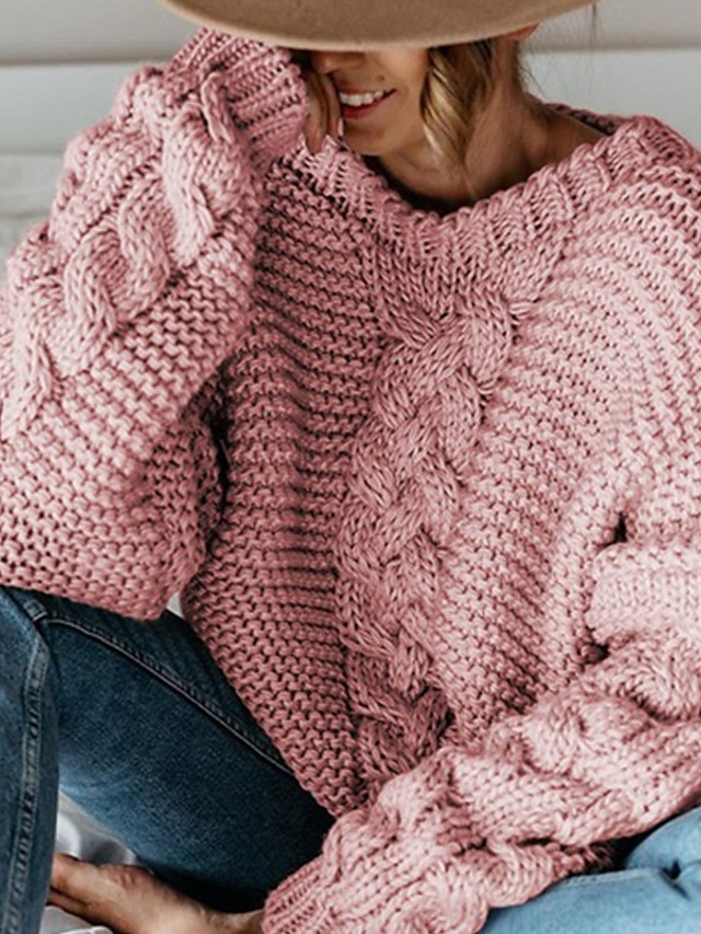 Women's Stylish Knitted Solid Color Pullover Long Sleeve Sweater Cardigans Crew Neck Fall Winter White Black Red