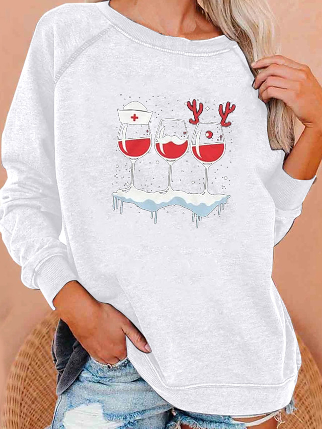 Women's Hoodie Sweatshirt Graphic Christmas Christmas Hoodies Sweatshirts  Loose Wine White Black