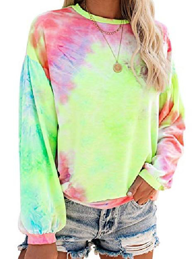 tie dye sweatshirt for women crewneck colorful printed long sleeve pullover shirt yellow & pink m