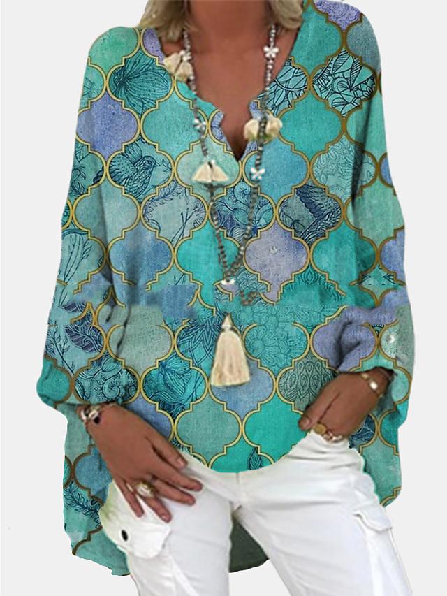 Women's Tunic Blouse Shirt Color Block Long Sleeve Asymmetric Print V Neck Basic Tops Purple Green Light Green