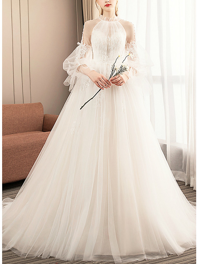 Ball Gown Wedding Dresses Jewel Neck Court Train Tulle Long Sleeve Formal Romantic with Pleats Appliques 2021