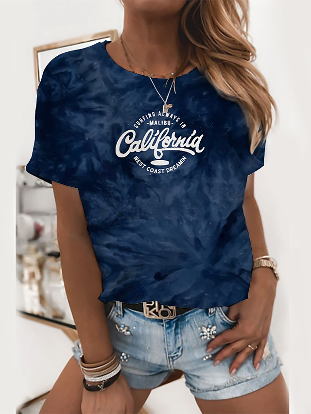 Dames T-shirt Grafisch Tie Dye Tekst Opdruk Ronde hals Basic Tops Blozend Roze Zwart