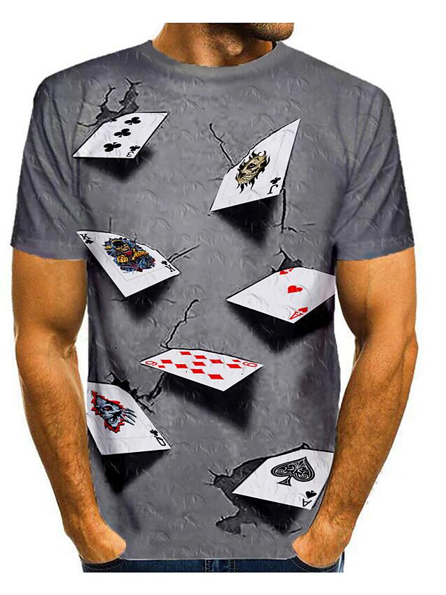 Men's T shirt Shirt 3D Print Graphic 3D Print Short Sleeve Daily Tops Round Neck Purple Yellow Blue
