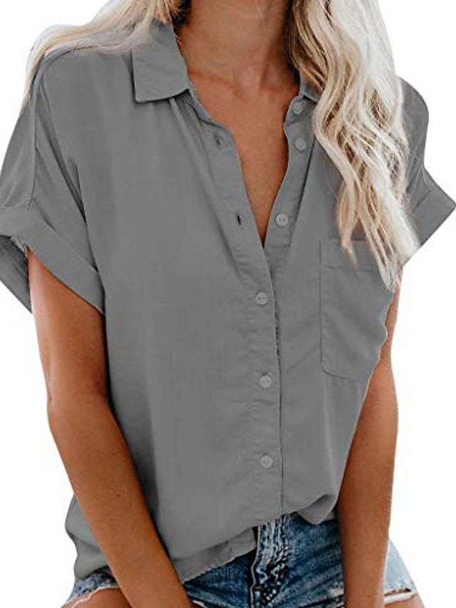 womens short sleeve t shirt casual v neck cuffed sleeve button down collar blouses shirts top with pocket gray