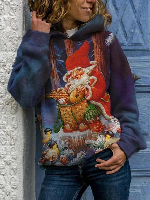 Pentru femei Hanorac cu Glugă Trage pe dreapta Grafic Crăciun Zilnic Casual Crăciun Hanorace hanorace Larg Albastru piscină Trifoi Roșu-aprins