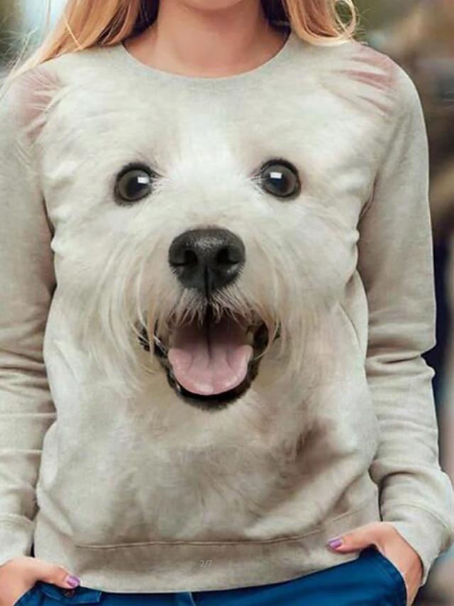 Per donna Felpa pullover Con cagnolino Pop art 3D Quotidiano Casuale Felpe con cappuccio Felpe Bianco Nero