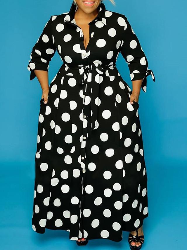 Women's Plus Size Dress Sheath Dress Midi Dress Long Sleeve Polka Dot Print Shirt Collar Casual Fall Spring Summer Black XL XXL 3XL 4XL 5XL / Maxi