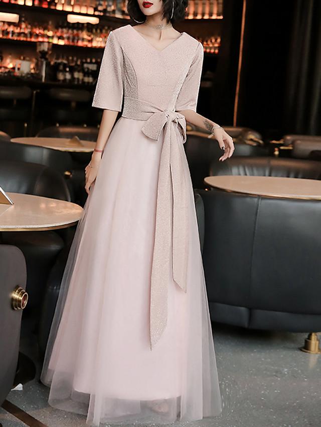 A-Line Minimalist Vintage Wedding Guest Formal Evening Dress V Neck Half Sleeve Floor Length Spandex Tulle with Sash / Ribbon 2020