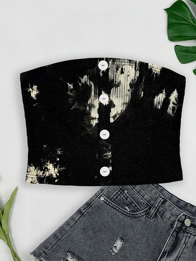 בגדי ריקוד נשים צינור עליון חולצת קרופ אחיד קשירה וצביעה לַחְצָן בסיסי צמרות בלי שרוולים שחור לבן לבן שחור