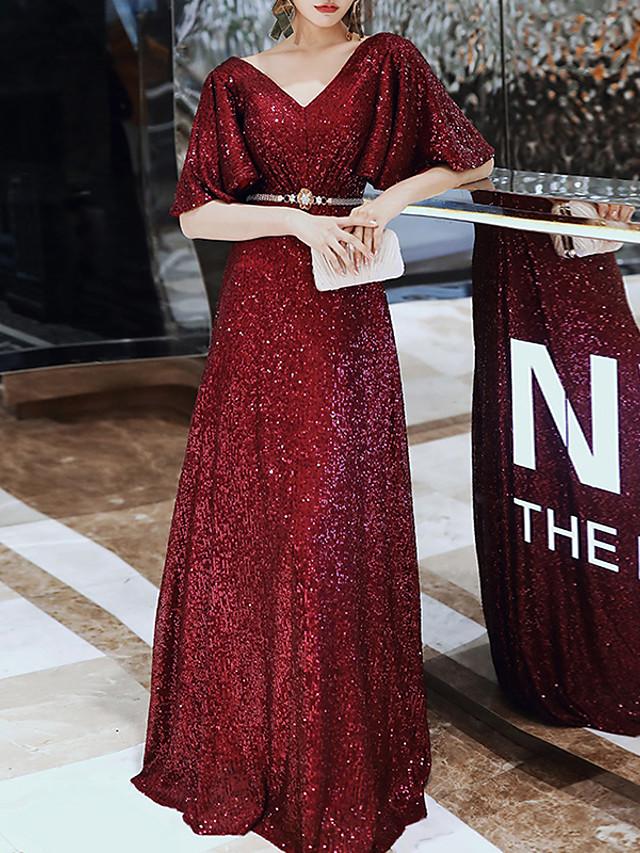 A-Line Sparkle Elegant Engagement Formal Evening Dress V Neck Half Sleeve Floor Length Sequined with Sash / Ribbon Sequin 2021
