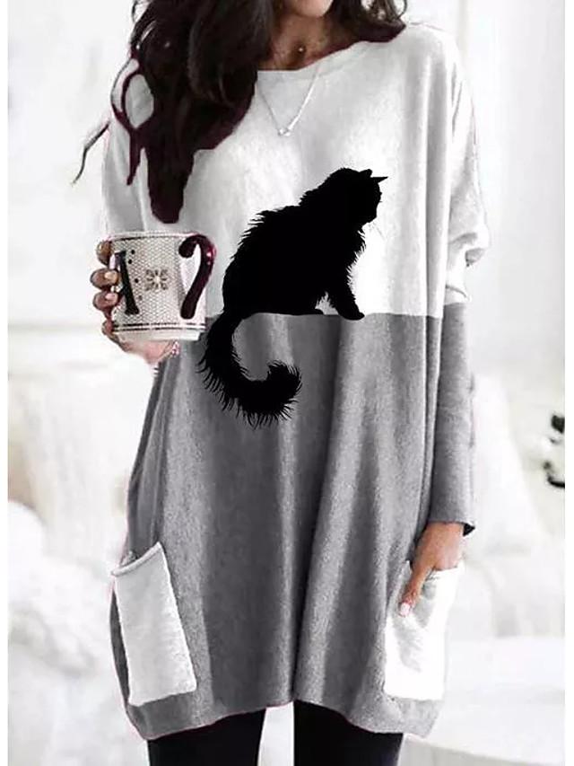 Women's Shift Dress Maxi long Dress Long Sleeve Print Color Block Patchwork Print Fall Winter Casual 2021 Gray S M L XL XXL 3XL