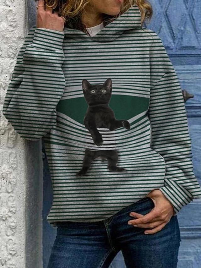 Per donna Felpa con cappuccio pullover Gatto Pop art Casuale Quotidiano Essenziale Felpe con cappuccio Felpe Nero Blu Verde