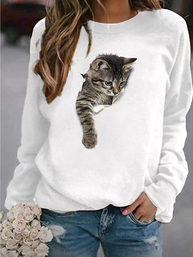 Women's Pullover Sweatshirt Cat Graphic 3D Cartoon Casual Daily Other Prints Basic Hoodies Sweatshirts  White Yellow Blushing Pink
