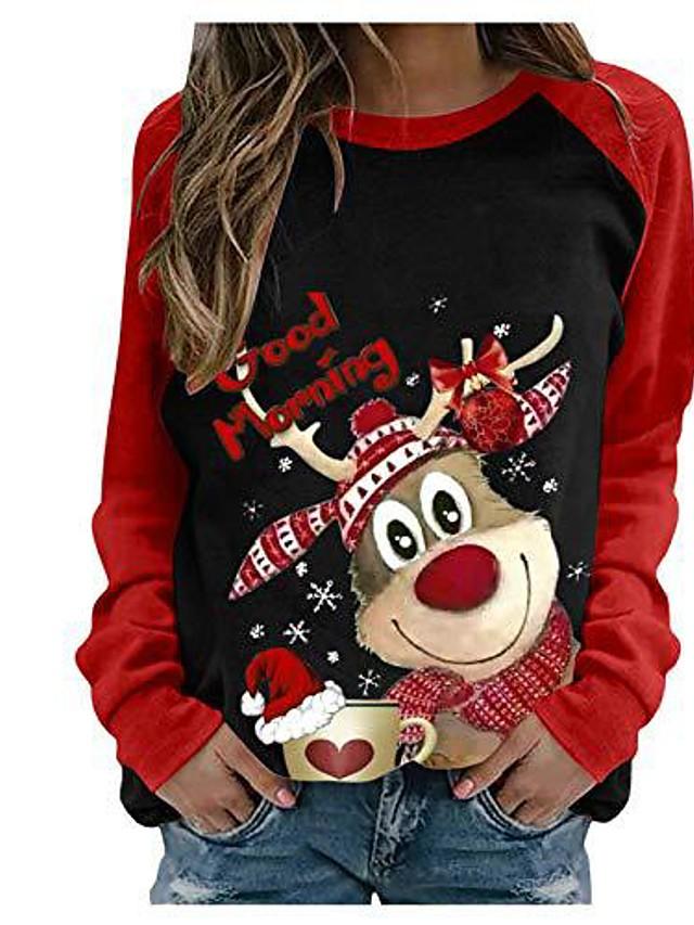 Women's Hoodie Sweatshirt Reindeer Christmas Daily Casual Christmas Hoodies Sweatshirts  Loose Gray White Black