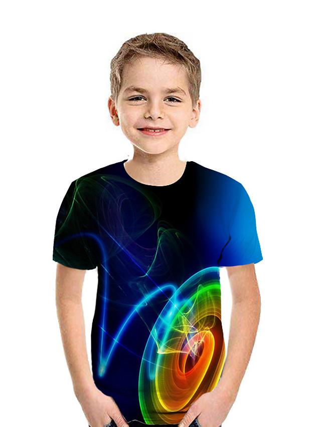 Děti Chlapecké Tričko Košilky Krátký rukáv Grafika Geometrický 3D Tisk Vodní modrá Děti Topy Aktivní Den dětí