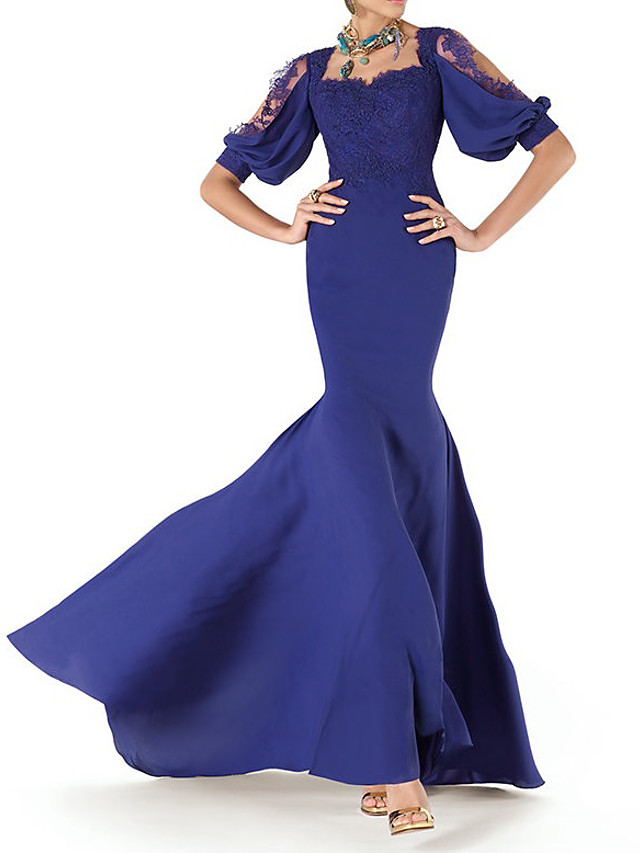 Mermaid / Trumpet Vintage Sexy Engagement Formal Evening Dress Scoop Neck Short Sleeve Court Train Taffeta with Appliques 2021