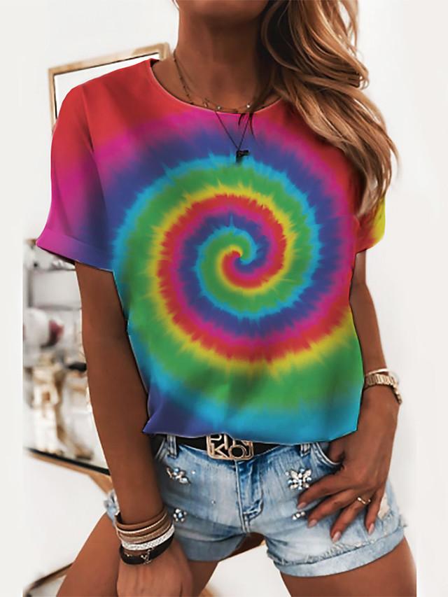 Women's T shirt 3D Print Round Neck Tops Basic Basic Top Rainbow
