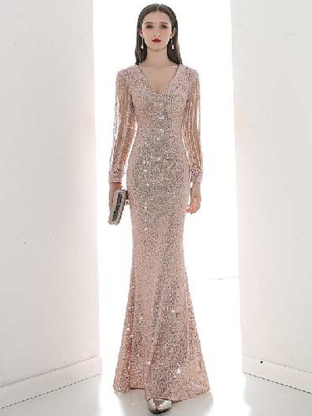 A-Line Elegant bodycon Engagement Formal Evening Dress V Neck Long Sleeve Floor Length Sequined with Sequin 2021