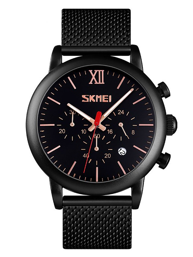SKMEI Men's Steel Band Watches Quartz Stylish Calendar / date / day Chronograph Analog Black Blue Gold / One Year / Stainless Steel