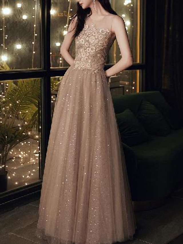 A-Line Sparkle Elegant Wedding Guest Formal Evening Dress Illusion Neck Sleeveless Floor Length Tulle with Pleats Appliques 2020