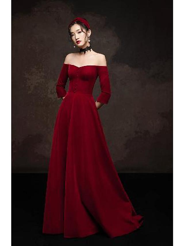 A-Line Elegant Vintage Engagement Formal Evening Dress Off Shoulder 3/4 Length Sleeve Floor Length Spandex with Buttons 2020