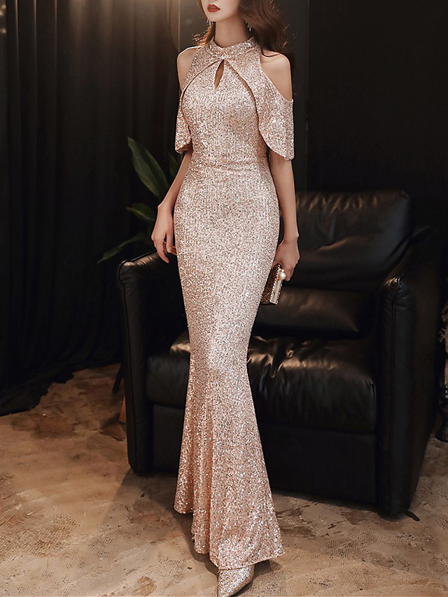 Mermaid / Trumpet Sparkle Sexy Engagement Formal Evening Dress Halter Neck Sleeveless Floor Length Sequined with Sequin 2020