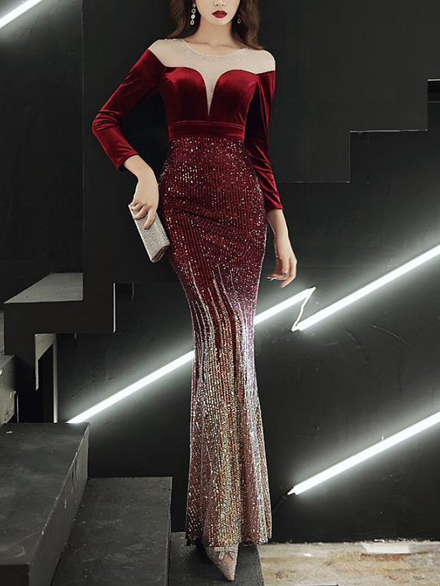 Mermaid / Trumpet Color Block Sparkle Wedding Guest Prom Dress Illusion Neck Long Sleeve Floor Length Sequined with Sequin 2020