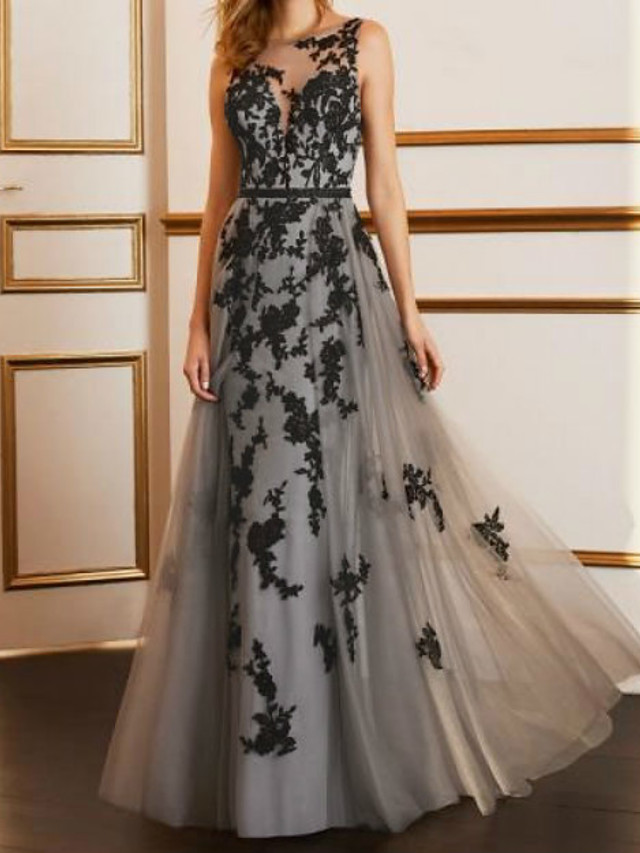 A-Line Beautiful Back Sexy Engagement Formal Evening Dress Illusion Neck Sleeveless Floor Length Tulle with Appliques 2021