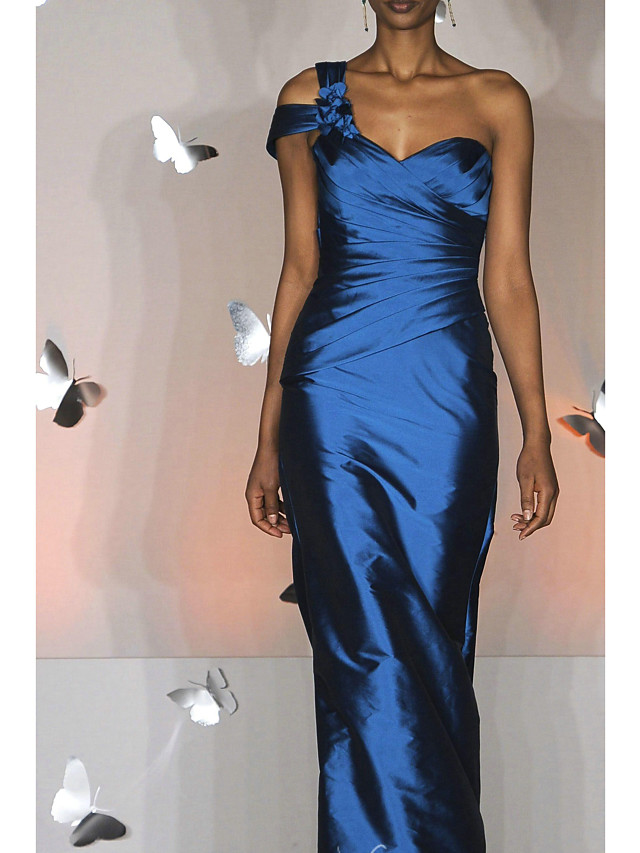 Sheath / Column Empire Elegant Wedding Guest Prom Dress One Shoulder Sleeveless Floor Length Taffeta with Ruched 2020
