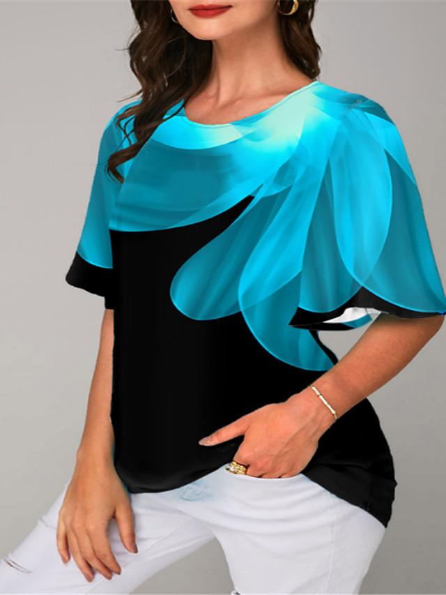 Women's Plus Size Tops T shirt Floral Graphic Half Sleeve Round Neck Summer Purple Red Big Size XL XXL 3XL 4XL