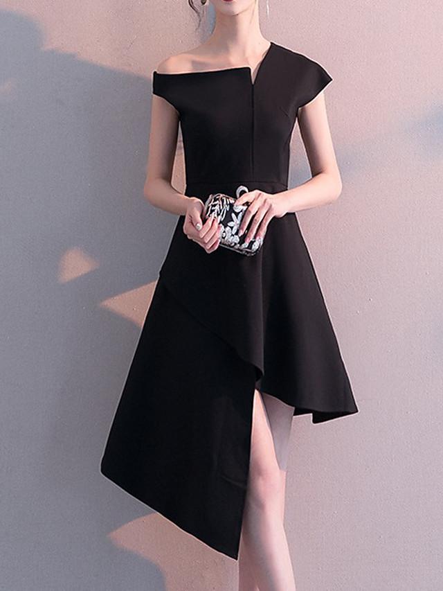 A-Line Little Black Dress Minimalist Homecoming Party Wear Dress One Shoulder Short Sleeve Asymmetrical Satin with Sleek 2021