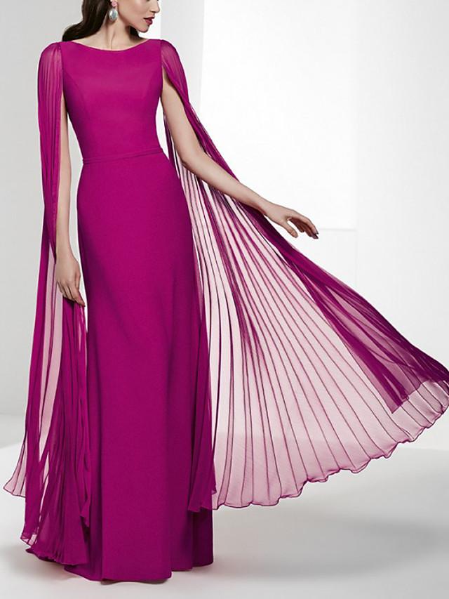 Sheath / Column Minimalist Elegant Wedding Guest Formal Evening Dress Jewel Neck Sleeveless Floor Length Chiffon with Pleats 2020