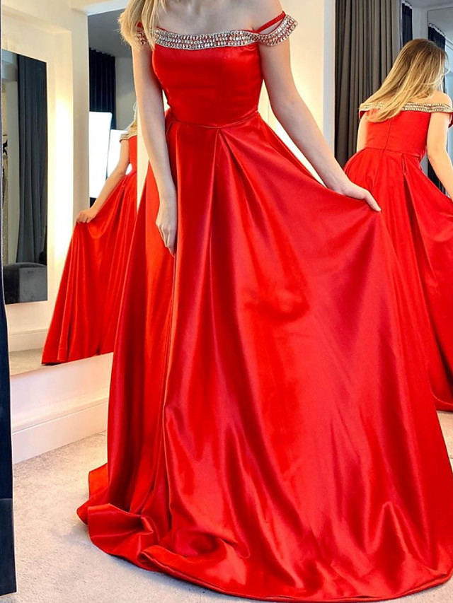 A-Line Luxurious Sexy Wedding Guest Formal Evening Dress Off Shoulder Sleeveless Floor Length Satin with Pleats Beading 2021