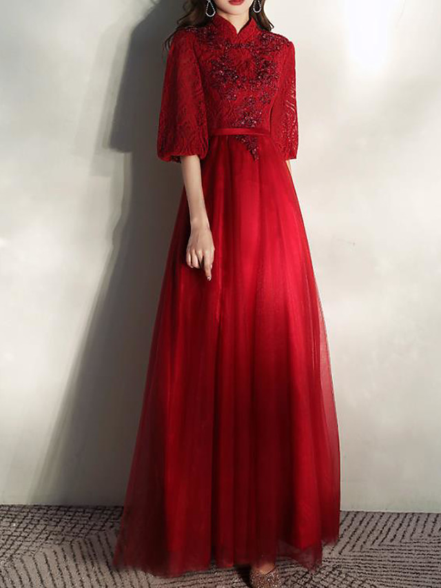 A-Line Chinese Style Floral Engagement Formal Evening Dress Stand Collar Half Sleeve Floor Length Lace with Pleats Sequin Appliques 2020