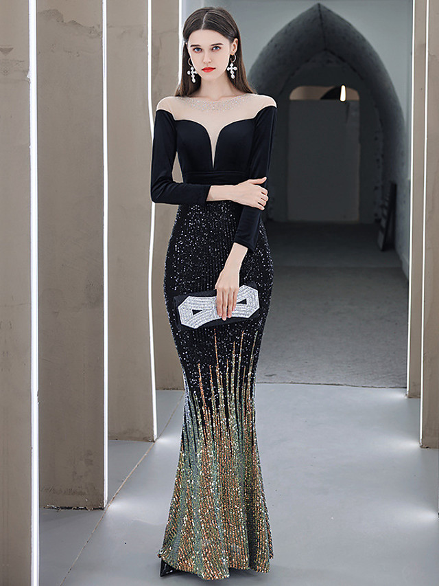 Mermaid / Trumpet Glittering Sexy Prom Formal Evening Dress Jewel Neck Long Sleeve Floor Length Sequined Velvet with Crystals Sequin 2020