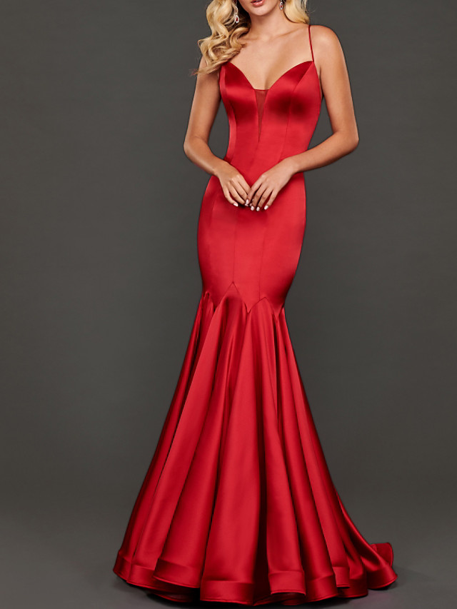 Mermaid / Trumpet Beautiful Back Sexy Wedding Guest Formal Evening Dress V Neck Sleeveless Floor Length Stretch Satin with Pleats 2020